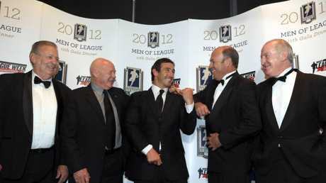 Andrew Johns (centre) after being named the eighth Immortal, pictured with fellow Immortals, Graeme Langlands, Bob Fulton, Wally Lewis and Johnny Raper.