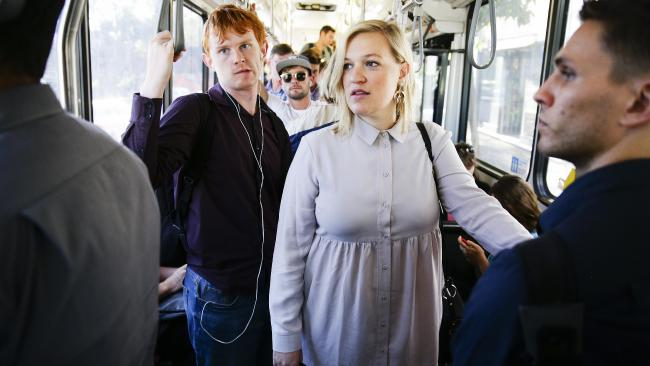 Journalist Karlie Rutherford on the 373 Coogee bus on Tuesday. Picture: Justin Lloyd