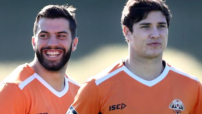 James Tedesco and Mitchell Moses as Wests Tigers players.
