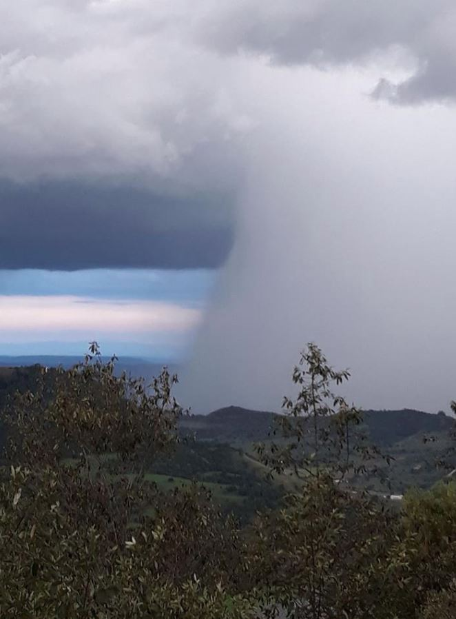 Nicole Thomson shared this photo of the view over Tabletop Mountain before the storm hit Toowoomba.
