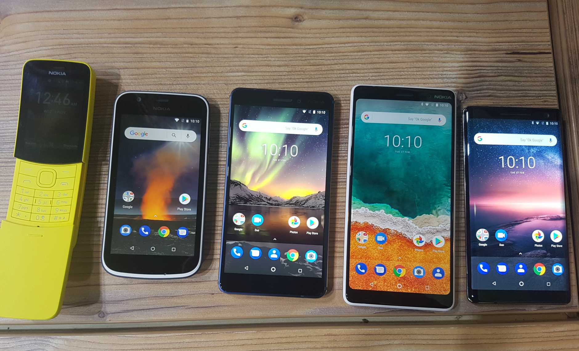 The five devices launched by Nokia at Mobile World Congress - the reloaded Nokia 8110, the Nokia 1, Nokia 6, Nokia 7+ and Nokia 8 Sirocco.
