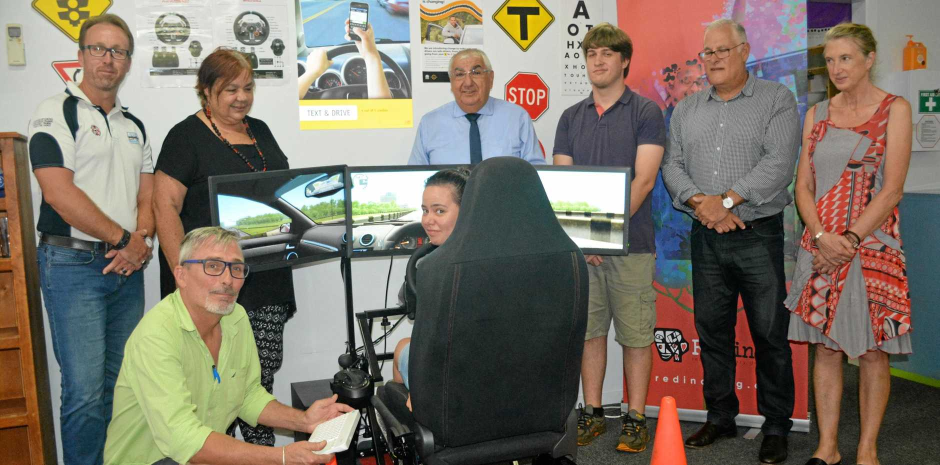 ON THE ROAD: Thomas George   launches REDinc's  driving simulator at  The Strand in Lismore.