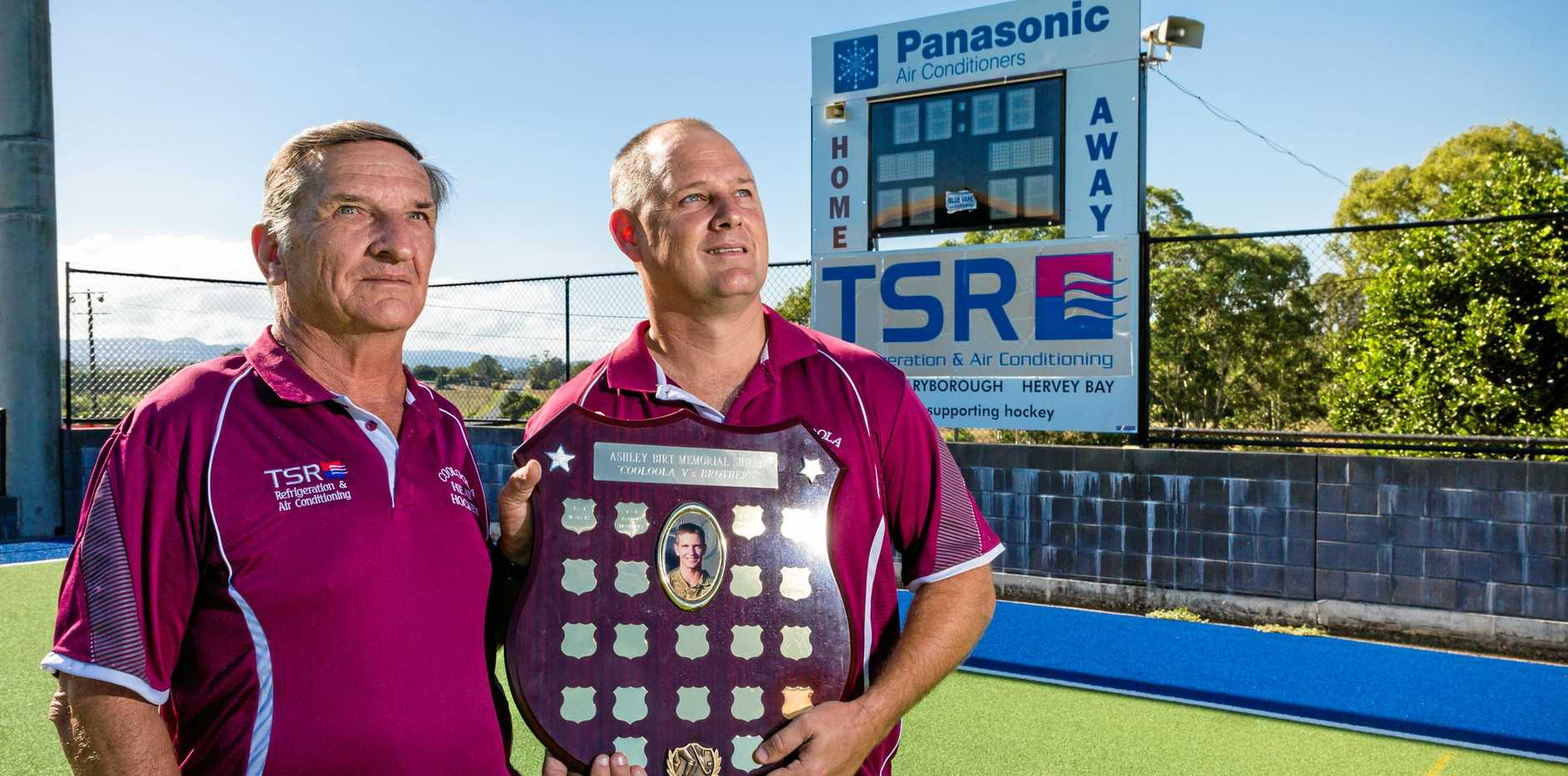 MEMORIAL MATCH: Don Birt, father of late soldier Ash Birt, with Cooloola Heat coach Neil McKean.