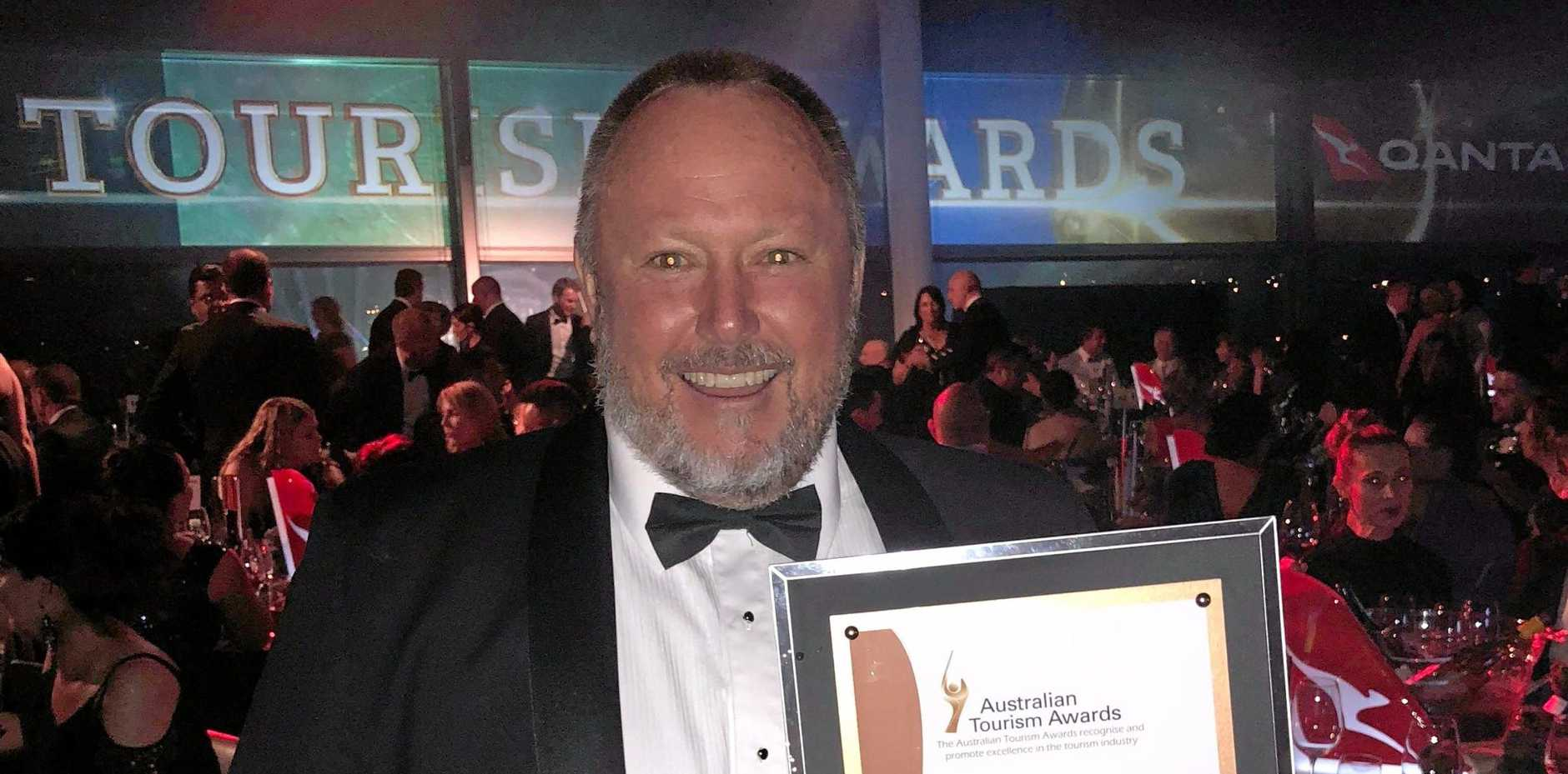Owner of BIG4 Adventure Whitsunday Resort Greg McKinnon at the Australian Tourism Awards in Perth on February 23, 2018.