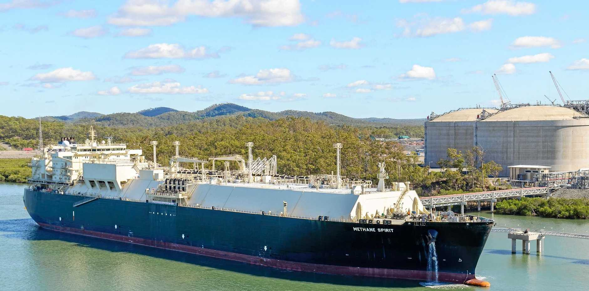 Methane Spirit takes on  the first load of liquefied natural gas to leave the APLNG processing plant on Gladstone's Curtis Island.