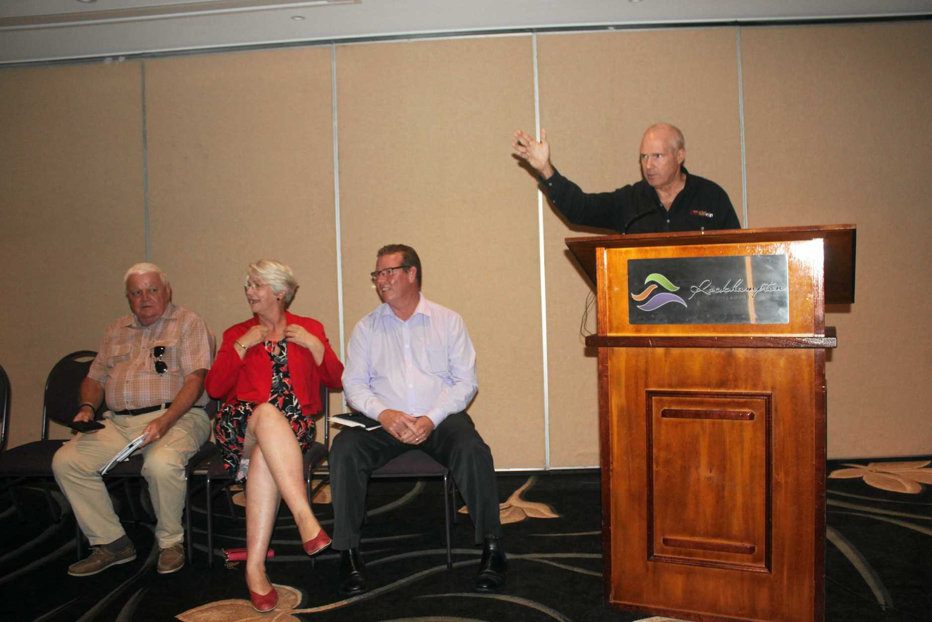 Frazer Pearce moderating the public meeting.