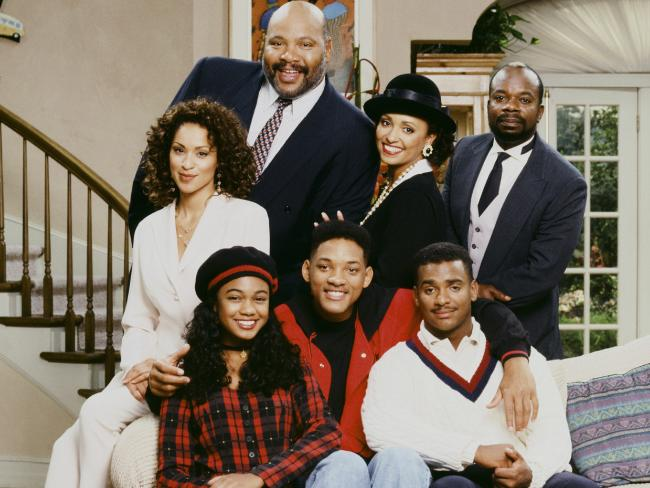 The cast of The Fresh Prince of Bel-Air (l-r) Back: Karyn Parsons as Hilary Banks, James Avery as Philip Banks, Daphne Reid as Vivian Banks, Joseph Marcell as Geoffrey; Front: Tatyana Ali as Ashley Banks, Will Smith as William 'Will' Smith, Alfonso Ribeiro as Carlton Banks. Picture: Getty