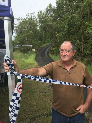 Detective Senior Sergeant David Tucker at the site where the body of missing mum Leeann Lapham was located on Tuesday. Picture: Peter Michael