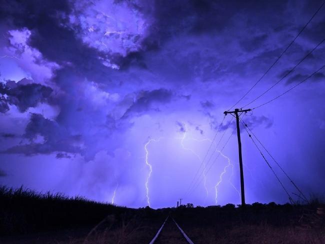 A lightning storm in the Mackay region.