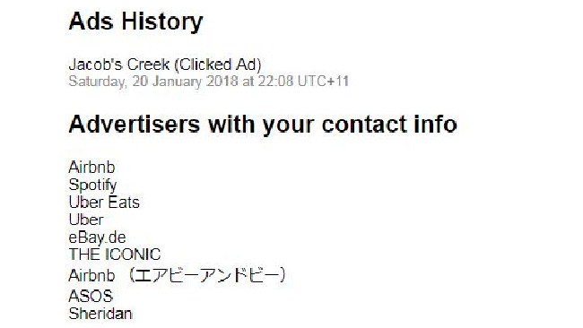 Apparently I clicked a Jacob's Creek ad last month.