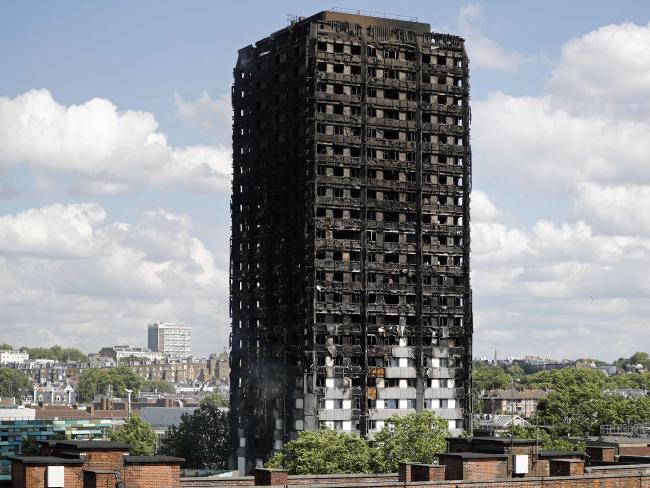 The remains of residential tower block Grenfell Tower in west London, a day after it was gutted by fire. Picture: AFP/Tolga Akmen