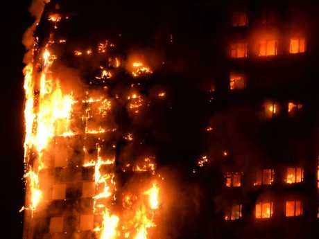 Flames engulfing Grenfell Tower, a 27-storey block of flats in west London. Picture: AFP/Giulio Thuburn