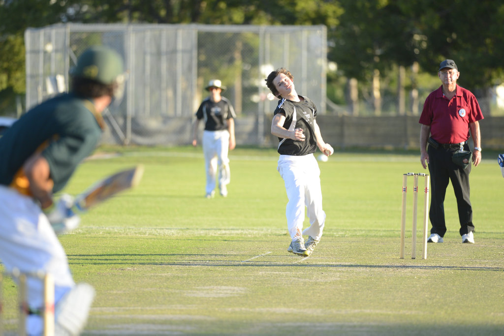 Image for sale: GDSC Easts bowler Rhys Hebbard fired his deliveries down the wicket during the Cleavers Mechanical Night Cricket Round 17 clash between GDSC Easts and Westlawn at McKittrick Park.