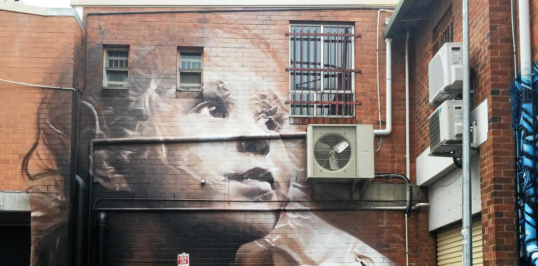 LARGE-SCALE MURALS: Guido van Helten's   work in Lismore CBD Back Alley Gallery.
