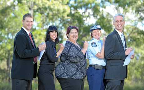 Senior Sergeant Greg Williams, Ipswich Community Youth Service representative Katrina Kane, Child Protection Week secretary Rachel Gettons, Sergeant Nadine Webster and Senior Sergeant Troy Salton. Photo: Rob Williams / The Queensland Times