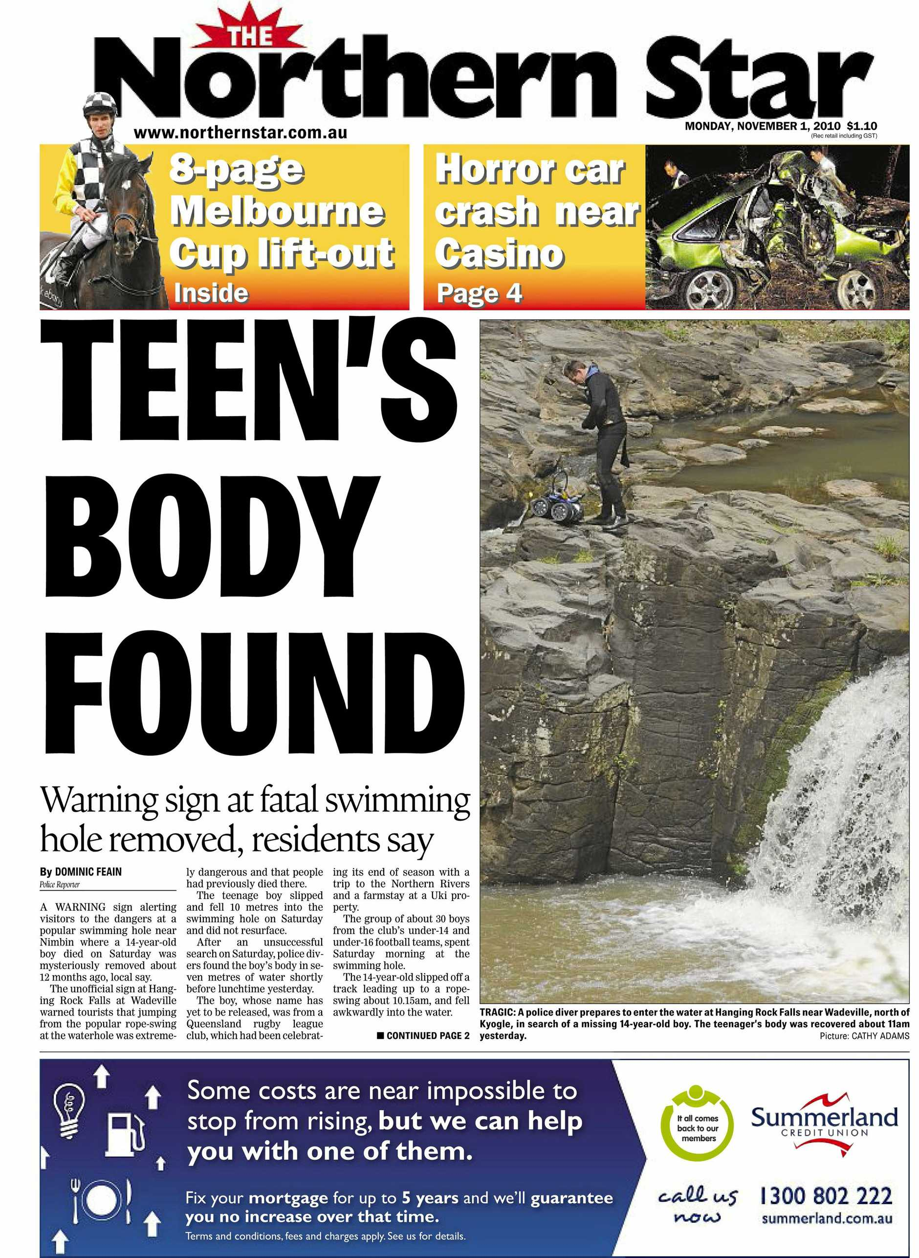 Northern Star tearsheet for Hanging Rock Falls near Nimbin