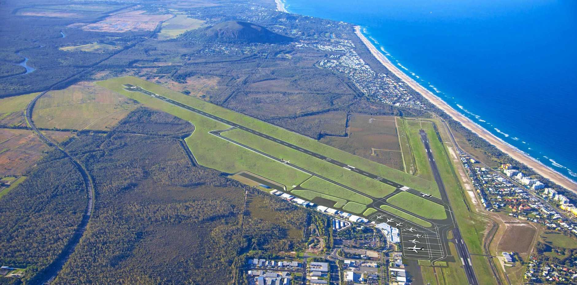 An artist's impression shows what the Sunshine Coast Airport will look like once the expansion work is completed.