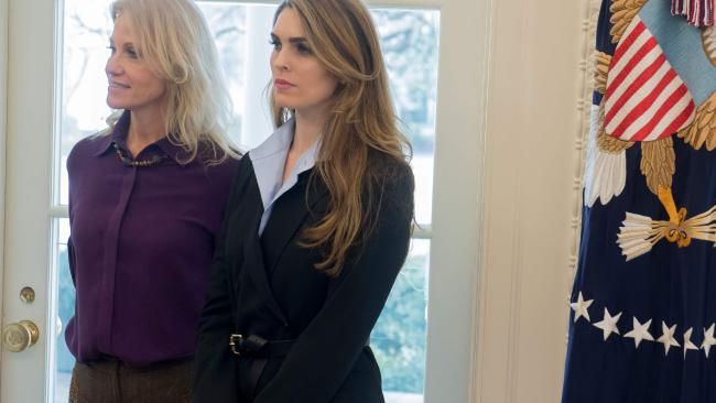 Hope Hicks in the Oval Office with Kellyanne Conway.
