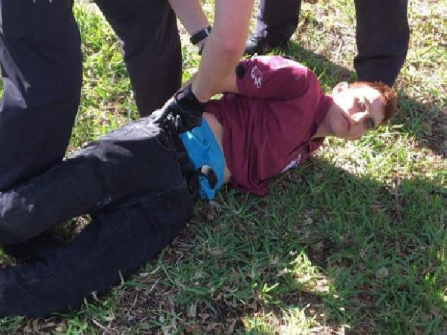 Nikolas Cruz upon his arrest after the shooting.