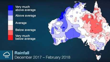 The west coast had above average rainfall this summer. Picture: Bureau of Meteorology