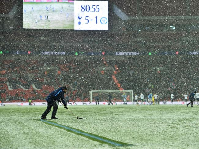 Ground staff clear the lines.