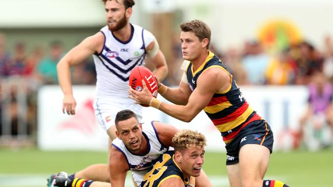 Matt Crouch of the Crows in action during the AFL 2018 JLT Community Series match against Fremantle at Strathalbyn on Sunday. Picture: James Elsby/AFL Media/Getty Images