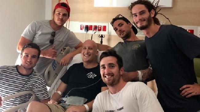 Dylan in hospital with his friends Troy, Nathan, Nathan, Jordan and Zac.