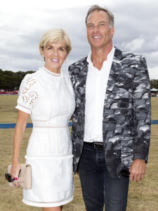Julie Bishop with David Panton at The Portsea Polo. Picture: Sarah Matray