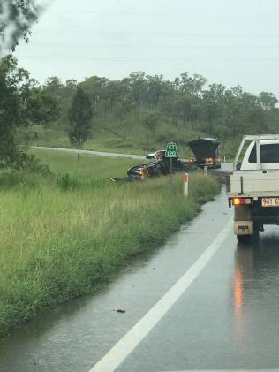 The truck crash on the Flinders Highway.