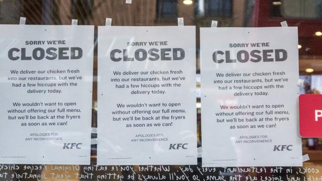 KFC faced a chicken shortage in February. Picture: Matt Cardy/Getty Images.