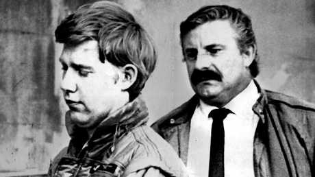 Christopher John Lewis, left, when arrested in Auckland in 1987. Suspected of an attempted assassination of Queen Elizabethh II, he was charged with the murder of Tania Marie Furlan in 1996.