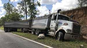 The truck involved in the crash on the Maryborough-Biggenden Rd.