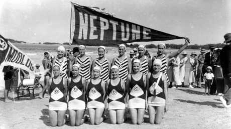 Members of the Brisbane-based Neptune Ladies Life Saving Team on Mooloolaba Beach in April 1929.
