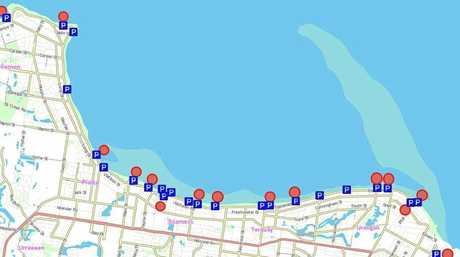 LOCK IT OR LOSE IT: Hervey Bay car parks (blue) and areas identified by QPS with property theft (red).