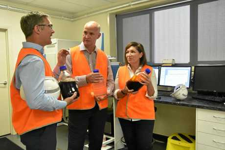 REVOLUTIONARY: Northern Oil managing director Tim Rose, Member for Gladstone Glenn Butcher and Minister for Environment and the Great Barrier Reef Leeanne Enoch at the Northern Oil Refinery at Yarwun.