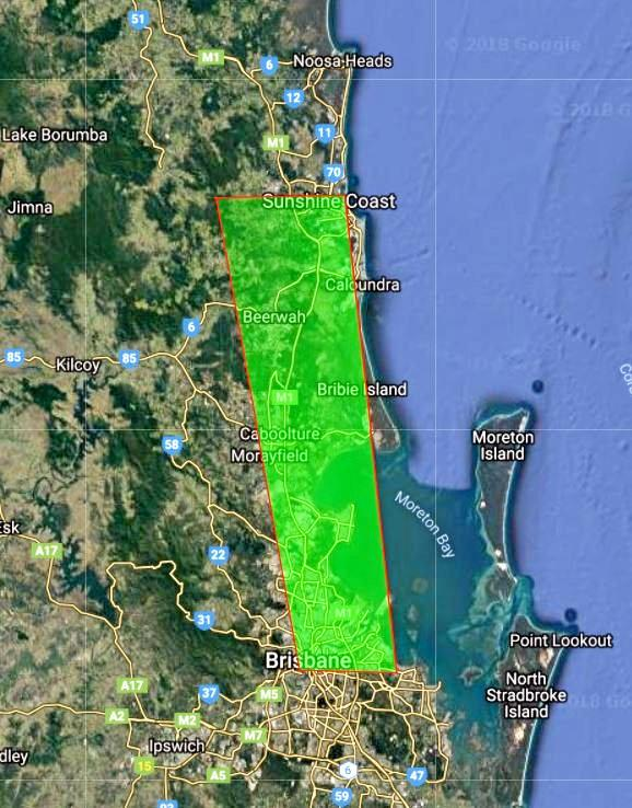 What 200,000 hectares looks like - a 20km-wide slice that stretches from the Brisbane CBD to Sunshine Coast.