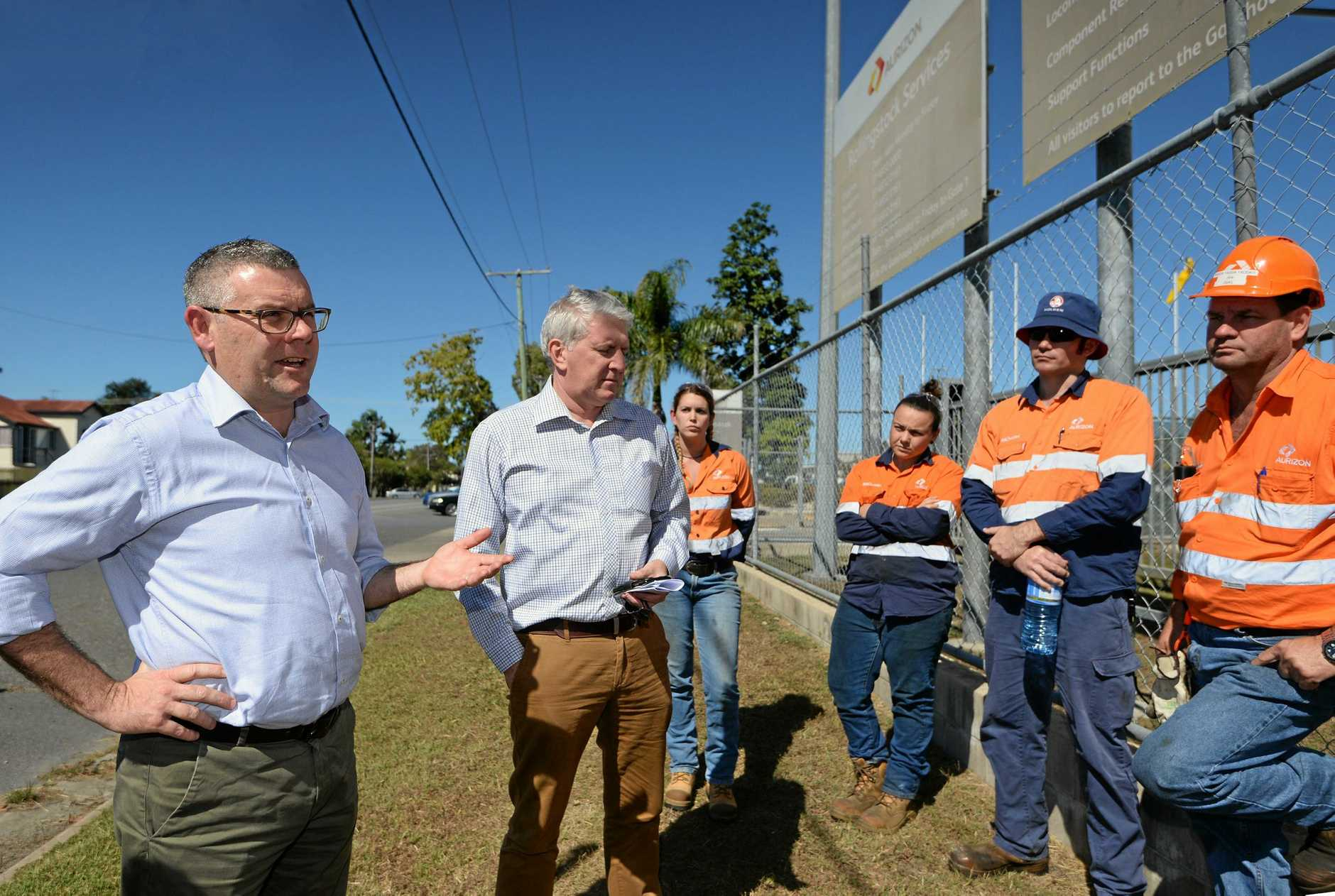 Senator Murray Watt and Opposition spokesperson for employment Brendan O'Connor in Rockhampton to talk to Aurizon apprentices.