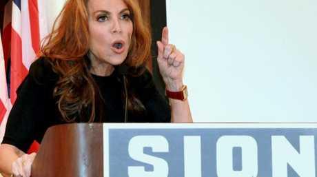 Pamela Geller, speaks at a 'Stop Islamisation of America' conference in New York in 2012. Picture: David Karp/AP