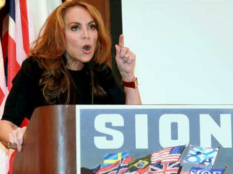 Pamela Geller, speaks at a 'Stop Islamisation of America' conference in New York in 2012. Picture: David Karp/AP