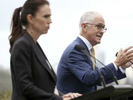 New Zealand's Prime Minister Jacinda Ardern listens as Australian Prime Minister Malcolm Turnbull makes a point during a joint press conference in Sydney. Picture: AP