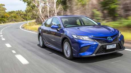 The Toyota Camry looks the business now, and it's refinement is a class above. It drives better on the 17-inch Michelins we tested than the bigger, fancier wheels and tyres on other Camry models. Picture: Thomas Wielecki.