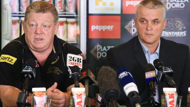 Phil Gould alongside Panthers coach Anthony Griffin.