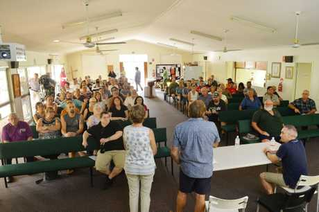 Concerned residents have filed into a church at Collingwood Park to discuss the proposed new 'super dump' for Ipswich.