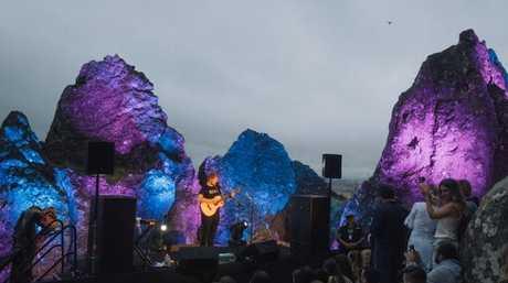 Ed Sheeran performs literally on Hanging Rock last year. Pic: Jaden Oswald