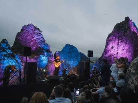 Ed Sheeran performs literally on Hanging Rock last year. Pic: Jaden Oswald