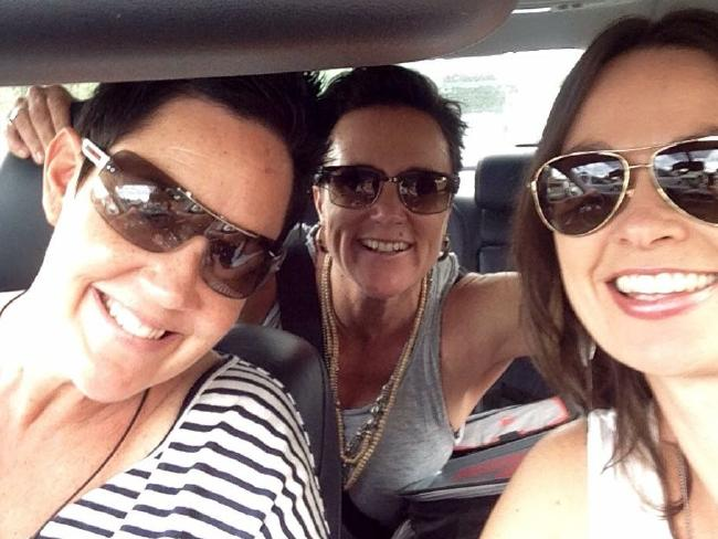 Ms Hill with friends Mel and Tracey, who are now by her side in hospital.