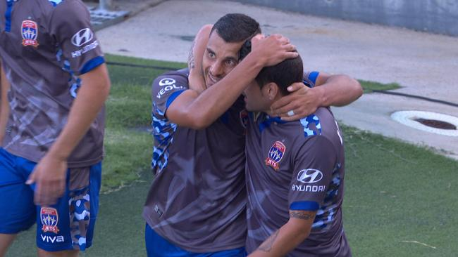 Andrew Nabbout celebrates his goal.
