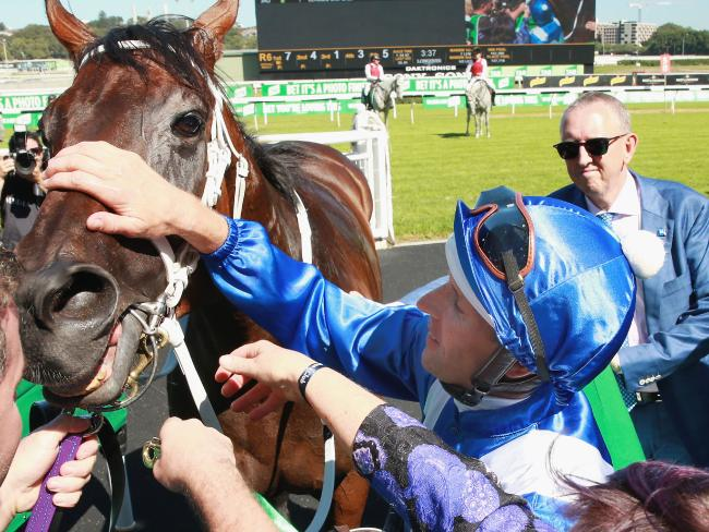 Hugh Bowman gives the mighty mare at pat. Picture: Getty Images