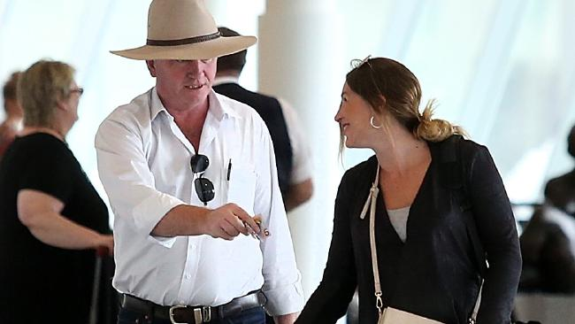 Barnaby Joyce and his pregnant partner Vikki Campion caught a flight to Sydney. Picture: Kym Smith