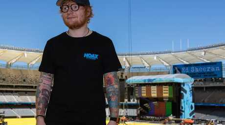 Ed Sheeran outside the Divide stage in Perth last week. Pic: AAP Image/Richard Wainwright